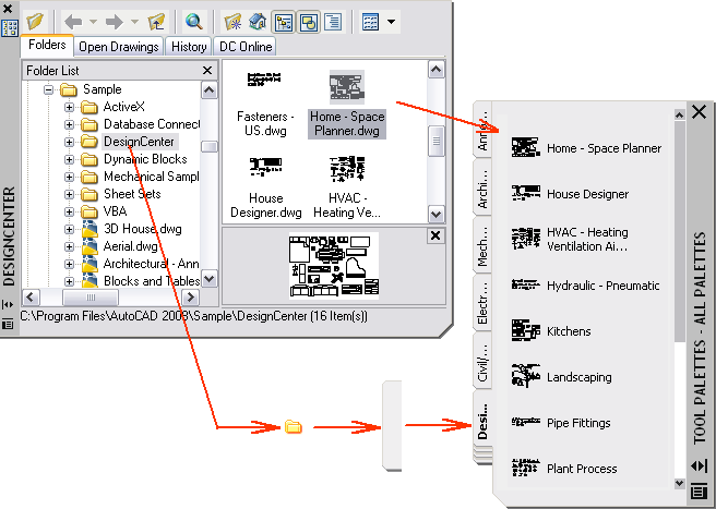 Customize tool palettes concept create a tool palette tab with predetermined content by right clicking a folder a drawing file or a block in the designcenter tree view and then clicking ccuart Image collections